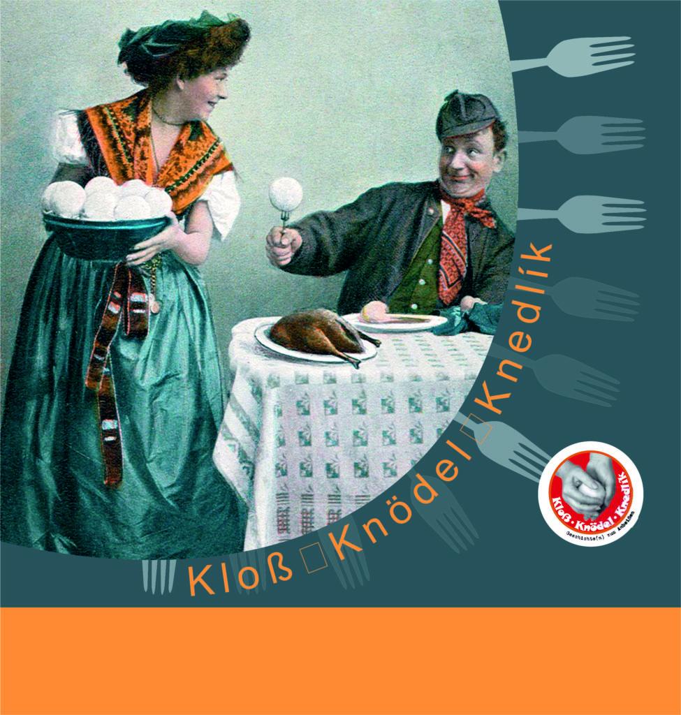 Historisches Bild, auf dem eine Frau einem Mann Knödel serviert.