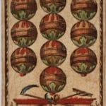 Spielkarte eines Bayerischen Kartenblatts mit dem Wert 10, Farbe Schellen des Kartenmalers Michael Schatzberger