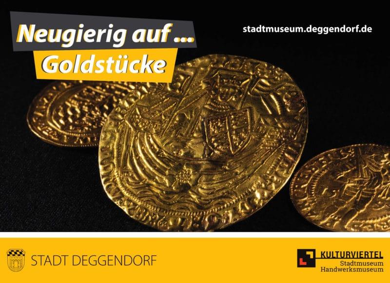 Neugierig auf Goldstücke. Es sind Goldmünzen zu sehen