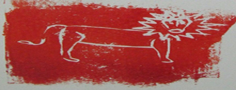 gemalter Loewe mit roter Farbe