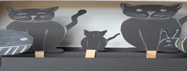 handgemachte Katzen aus schwarzem Papier