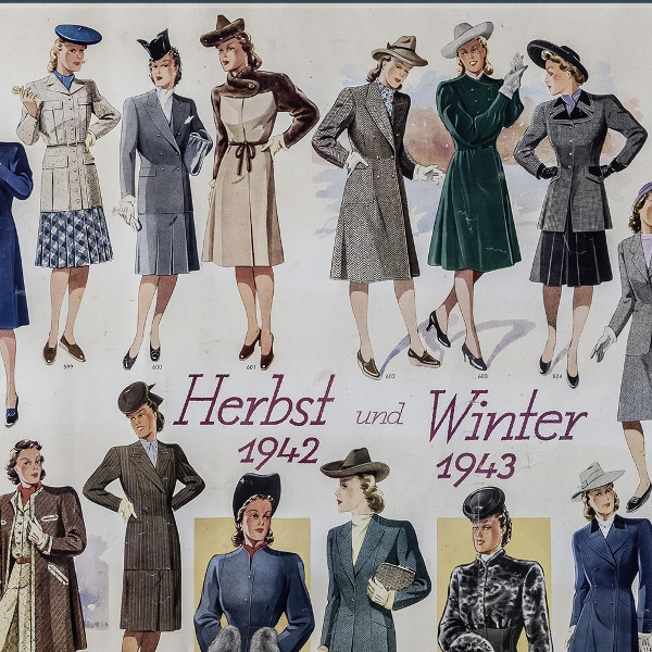 Übersicht Kleidung Herbst Winter 1942/ 43 aus der Sonntagsführung Ausstellung Museumsreif?