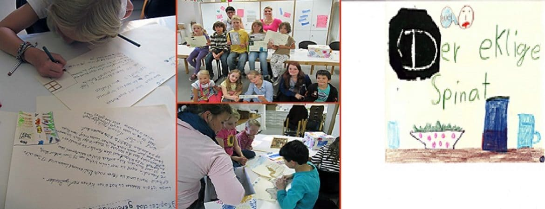 Kinder malen ihre handgemachten Bücher