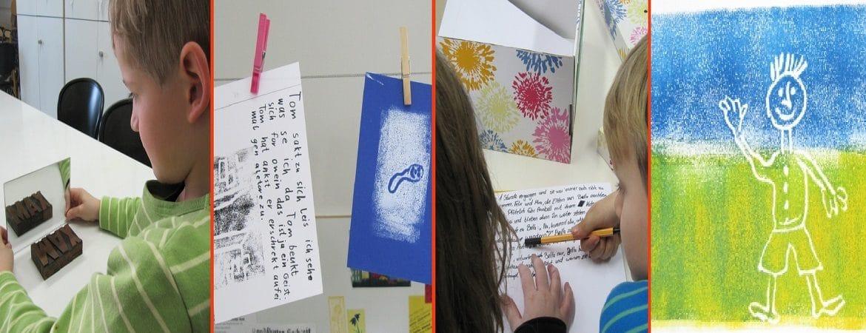 Kinder malen ihre eigene Buecher